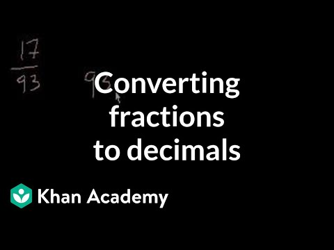khanacademy - Learn more: http://www.khanacademy.org/video?v=Gn2pdkvdbGQ How to express a fraction as a decimal.