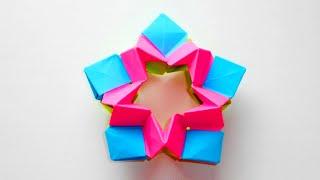 Оригами 3D звезда из бумаги. Новогоднее украшение на елку