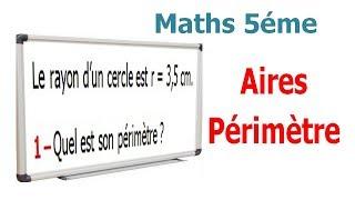 Maths 5ème - Aires et périmètres Exercice 1