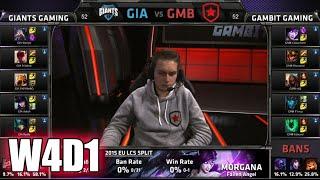 GIANTS Vs Gambit Gaming | S5 EU LCS Spring 2015 Week 4 Day 1 | GIA Vs GMB W4D1G1 VOD 60FPS