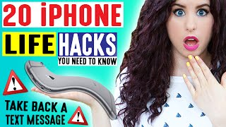 20 iPhone Life Hacks | Take Back A Text Message | iPhone Hacks For School & Life You May Not Know! by GlitterForever17