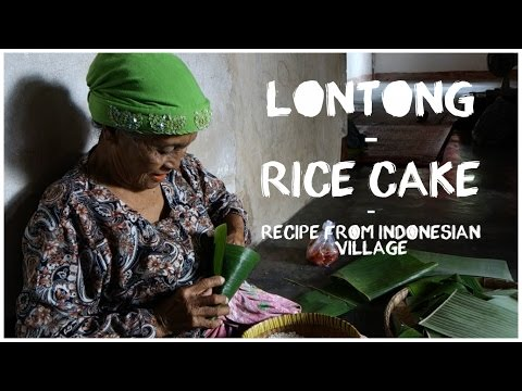 Lontong - rice cakes cooked in a banana leaf
