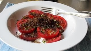 "Tomato&""Dirt"" Salad - Fresh Tomatoes with Crispy Rye Crumbs"
