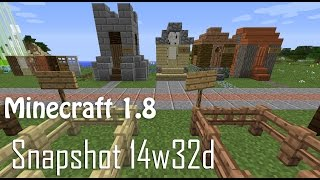 Just a look at the new fences, gates, and doors!  Crafting recipe for the fence has now changed to wood block, stick, wood block (done in 2 rows)... kinda the opposite of how you would make a gate.  Miss the last snapshot video?  Check it out here: https://www.youtube.com/watch?v=P668sRZ29O0