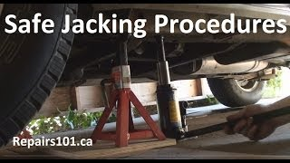 How to do-it-yourself instructional on safe jacking procedures using a standard bottle jack and axle stands. Transcript provided for the hearing impaired: OK...