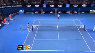Running to catch a hit from Federer, Tsonga finds himself on the wrong side of the court. Subscribe: http://bit.ly/AustralianOpenTV ...