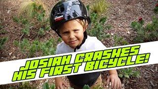 3 year old Josiah crashes his bike