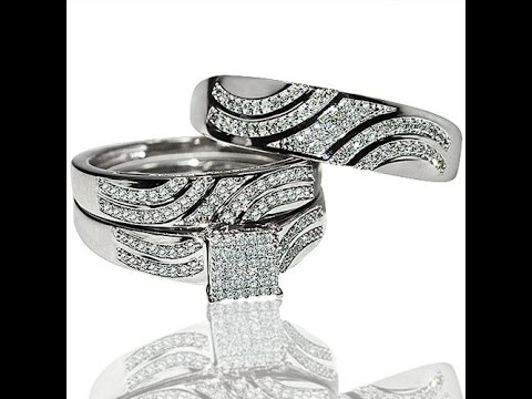 His and Her Rings Trio Wedding Sets | White Gold 0.4ct Diamonds Princess Style Top