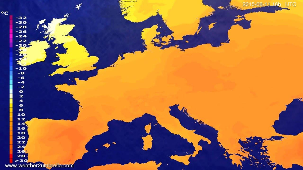 Temperature forecast Europe 2015-08-09