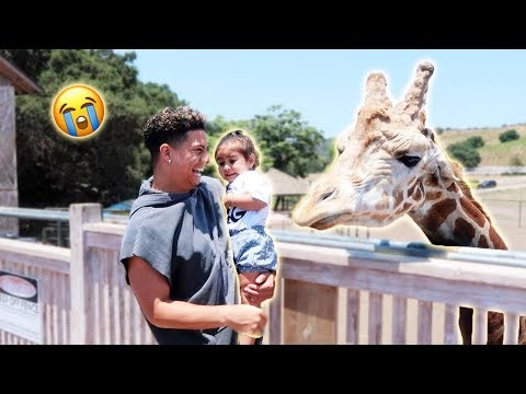 ELLE MEETS THE GIRAFFE FOR THE FIRST TIME...AND SHE FREAKS OUT!!! (SORRY ELLE)