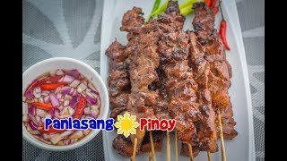 This video shows how to make Filipino Style Pork BBQ. It is made from thinly sliced pork that was marinated in soy sauce and other seasoning and then held together using a bamboo skewer. The skewered pork bbq is then grilled (and basted) until done.This dish is best eaten when dipped in spicy vinegar.