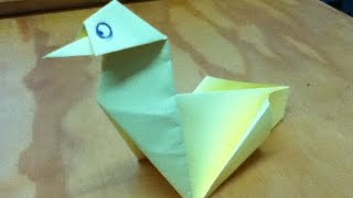 How To Make An Origami Pecking Bird - Paper Chicken - Step By Step Instructions - Tutorial