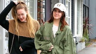 Lana Del Rey Sports Green Army Jacket Getting Coffee With Girlfriend