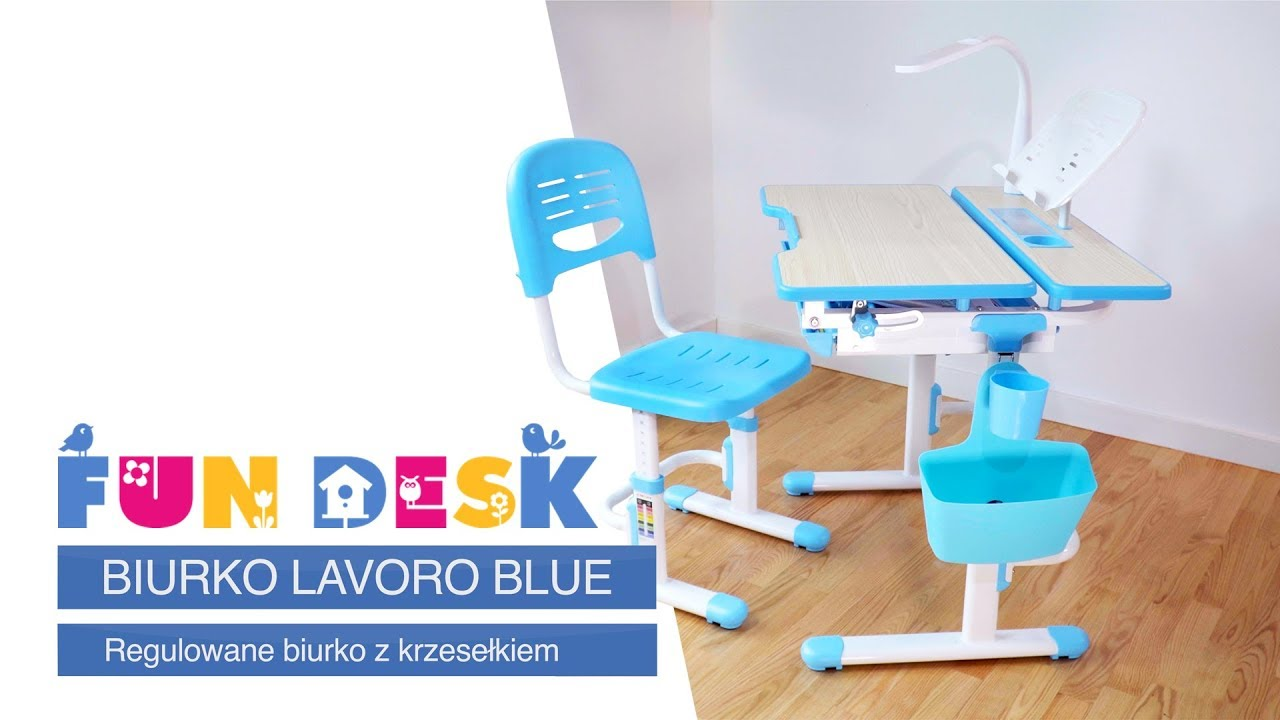 Regulowane biurko dziecięce Lavoro Blue, Fun Desk