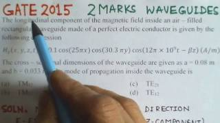 Video Solution to GATE ECE -2015 Problem -Waveguides - Electromagnetics