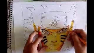 Cara Menggambar anime naruto Dalam Mode Biju