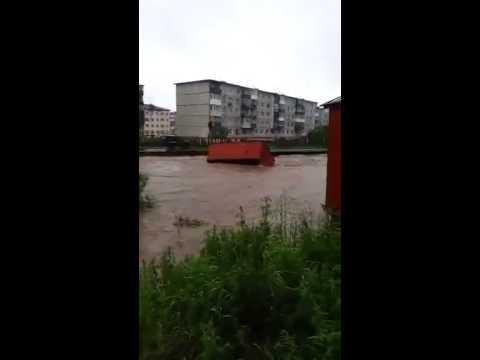 Потоп в Магадане (Россия). Flood in Magadan (Russia) 23.07.2014 (видео)