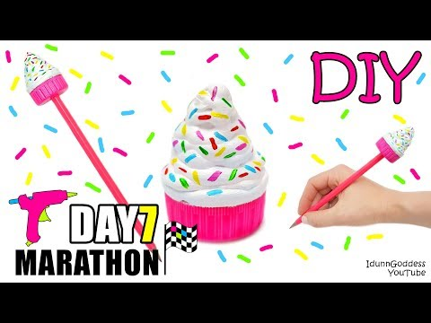 DIY Hot Glue Pencil Topper - DAY 7 of 7-Day Marathon Of Glue Gun DIYs (видео)