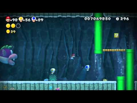 New Super Mario Bros U 100% Walkthrough - Super Star Road 3 (Swim for your Life!)