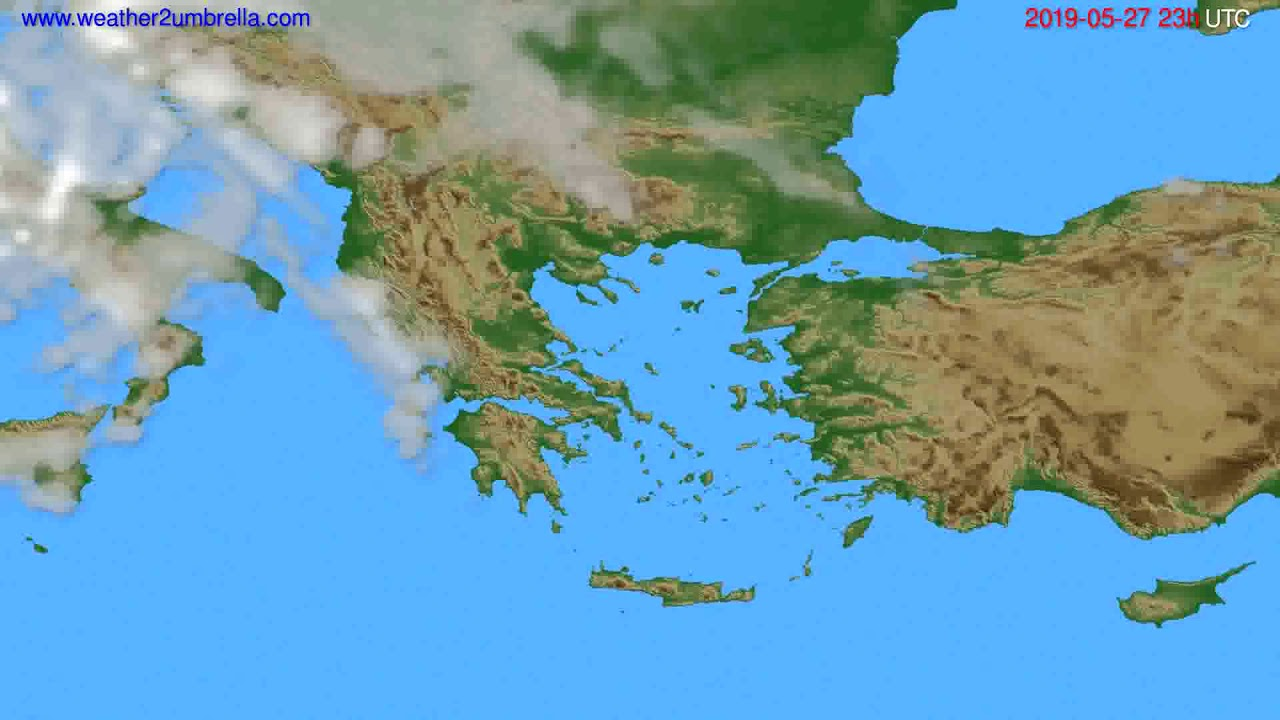 Cloud forecast Greece // modelrun: 12h UTC 2019-05-24