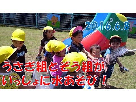 八幡保育園(福井市)ぞう組(2歳児)とうさぎ組(1歳児)が中庭でソフトに水遊び!もうすぐ梅雨入りかな?2016年6月