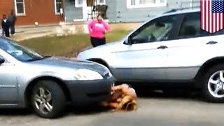 UNCENSORED VERSION: http://bit.ly/1NhA4uY Police in Grand Rapids, Michigan are looking for a 19-year-old girl who allegedly hit a victim with her car after a...