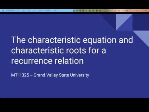 Characteristic equation and characteristic roots of recurrence relations