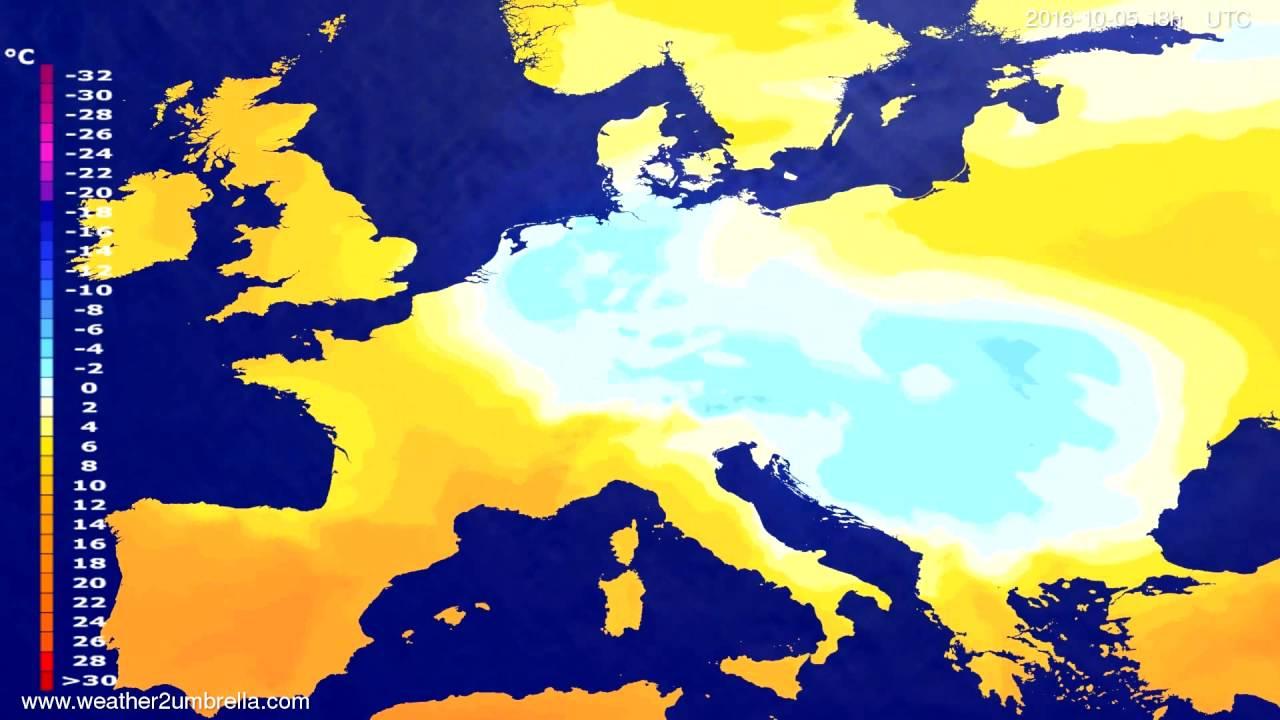 Temperature forecast Europe 2016-10-02