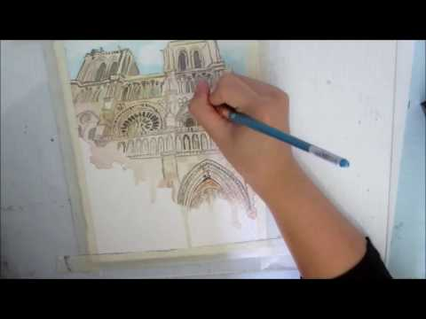 Notre Dame watercolor sketch