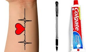 How To Make Tattoo At Home with pen | diy Tattoo with pen | ABCD (TTS)