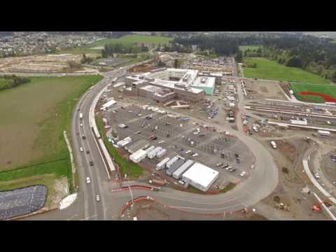 Drone video of Mountainside High School in Beaverton (видео)