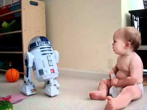 R2 - Baby Talks To R2D2 - So funny baby.