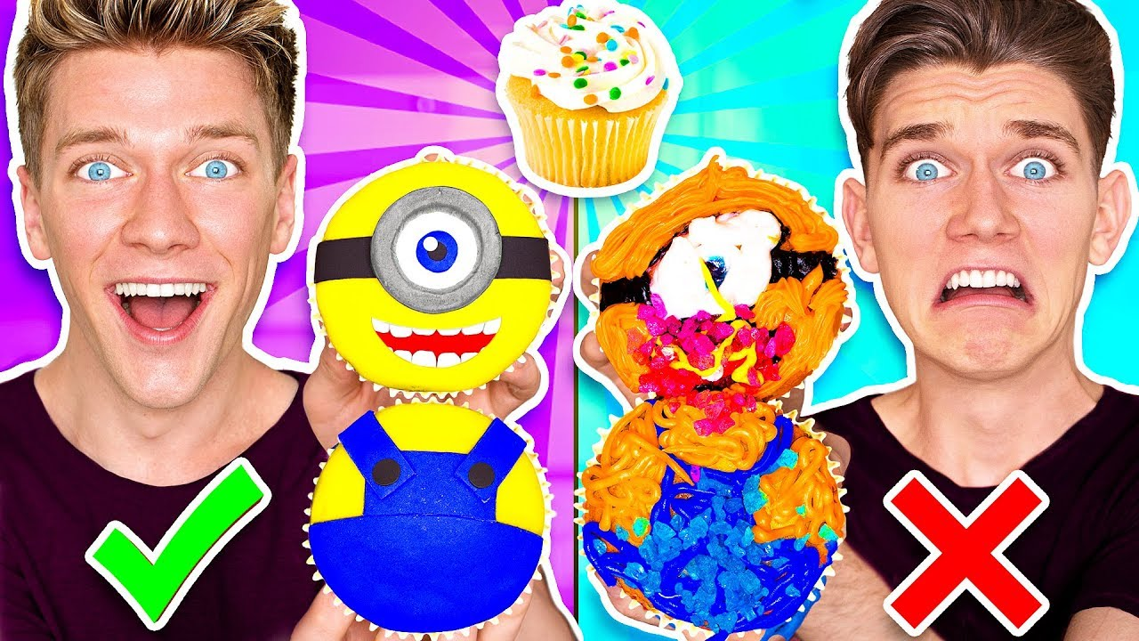 CUPCAKE ART CHALLENGE!!! Learn How To Make Minions Star Wars Jedi & Mario Nintendo Food DIY Pancake - YouTube