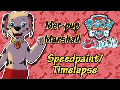 Dibujos de amor - Paw Patrol - Mer-pup Marshall (Speedpaint/ Timelapse)