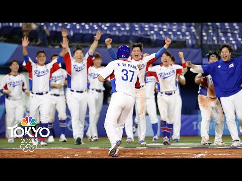 South Korea walks off Israel on BACK-TO-BACK hit-by-pitches | Tokyo Olympics | NBC Sports