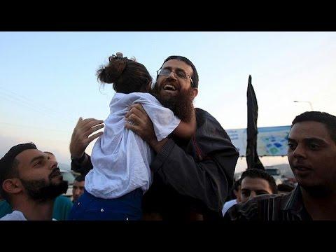 Κάτοικοι της Τζενίν στη Δυτική Όχθη πανηγυρίζουν έξαλλα την απελευθέρωση του Χαντερ Αντνάν