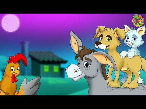 Bremen Town Musicians  🐓 KONDOSAN Fairy Tales in English Episode 1 | Cartoon Subtitle Storytelling