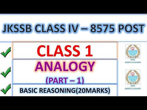 ANALOGY || PART 1 || JKSSB CLASS IV RECRUITMENT 8575 POSTS
