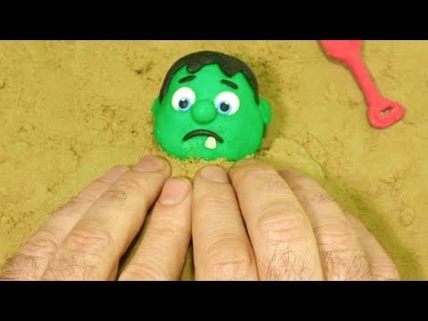 Baby hulk sand games 💕 Superhero Play Doh Stop motion videos for kids