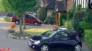 some european car commercial. the car protects itself from an unwanted cat.
