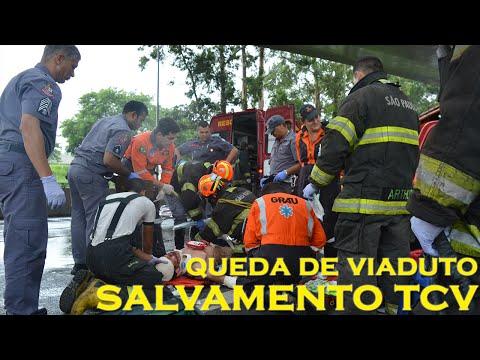 Emergência News – Deslocamento e atendimento à vítima de queda de viaduto