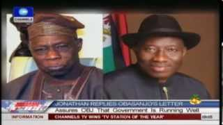 Jonathan Replies Obasanjo's Letter