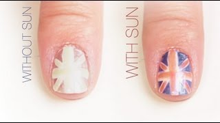 British Flag Outline Color-Changing Nail Art Design