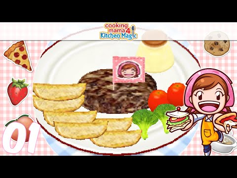 [Let's Play] Cooking Mama 4 Kitchen Magic - EP01: Salisbury Steak (●♡∀♡)