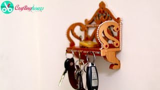 How to make a royal style stunning key hander, key holder with waste cardboard, diy wall decoration. Best out of waste material craft idea as DIY home decor. For more amazing DIY Craft Ideas, visit http://www.craftinghours.com Connect us on Facebook: https://www.facebook.com/CraftingHours/Follow us on Twitter: https://twitter.com/craftinghours