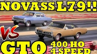 SMALL BLOCK vs BIG BLOCK !! 66 L79 Nova SS vs 67 Pontiac GTO 400 HO  - Drag Race - RoadTestTV by Road Test TV