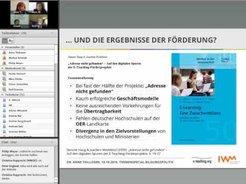 "Online-Event ""E-Learning an deutschen Hochschulen – der Weg zum heutigen Status quo"""