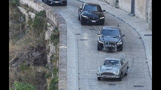 James Bond - No Time To Die: Second Unit filming car chase with Aston Martin DB5 in Matera, Italy