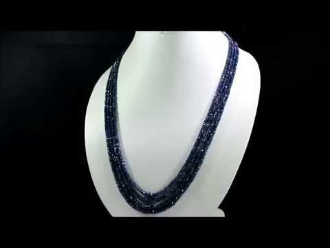 Natural Blue Sapphire 305ct Faceted Beaded Gemstone String Necklace