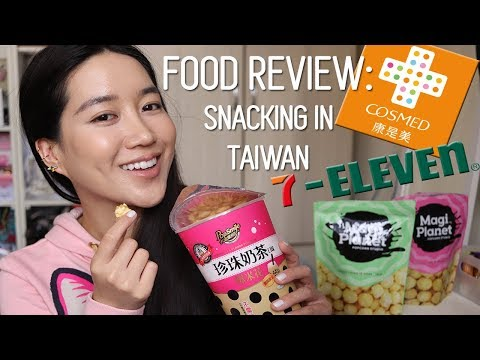 SNACKING IN TAIWAN 7-Eleven & Cosmed | Popcorn Milk Tea & Boba and Corn Soup Flavors